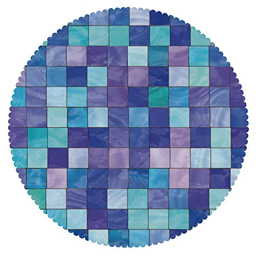 (iPrint Round Tablecloth [ Navy and Teal,Stained Glass Inspired Design Checkered Pattern Dreamy Fantasy Colors Shades Decorative,Multicolor ] Duty Cute Fabric)