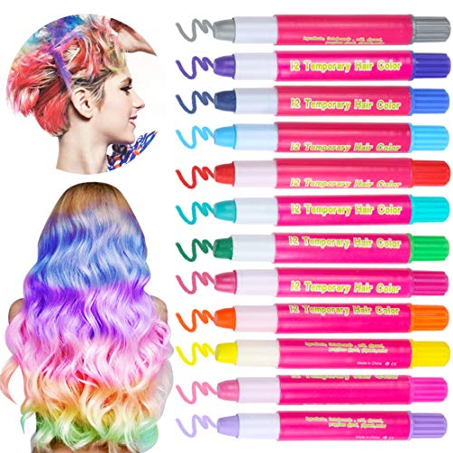 Hair Chalks for Kids Girls 12 Pack Metallic Glitter Temporary Hair Chalks  Pens Gifts for Kids Hair Dyeing,Party,Christmas and Cosplay DIY