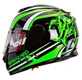 IV2 High Performance Full Face Dual Visor Motorcycle Helmet Gloss Black ''Bio-Racer'' (M)