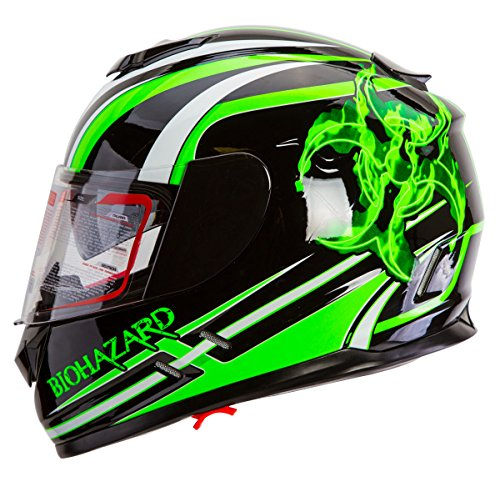 IV2 High Performance Full Face Dual Visor Motorcycle Helmet Gloss Black