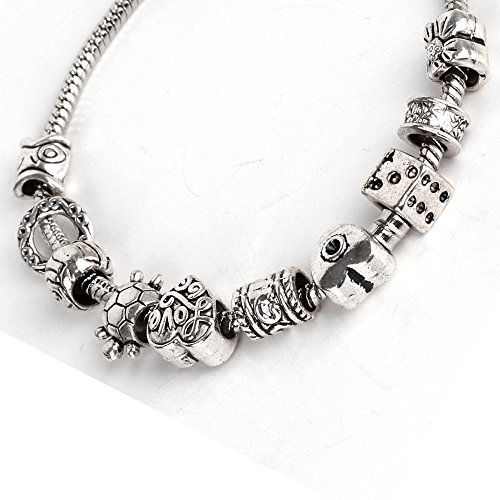 RUBYCA 50 Pcs Tibetan Silver Color Charm Beads With 1 Pcs European (Daisy 04 Color)