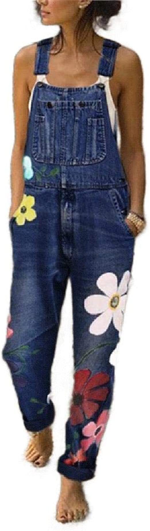 Romancly Women's Overalls Flower Printed Denim Pants Bib Playsuit with Pockets
