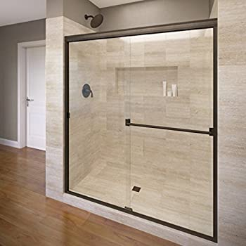 this item basco classic sliding shower door fits inch opening clear glass oil rubbed bronze finish - Delta Shower Doors