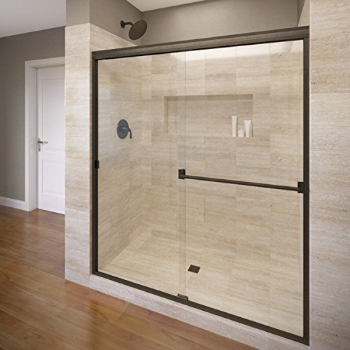 Basco Classic Sliding Shower Door, Fits 44-47 inch opening, Clear Glass, Oil Rubbed Bronze Finish