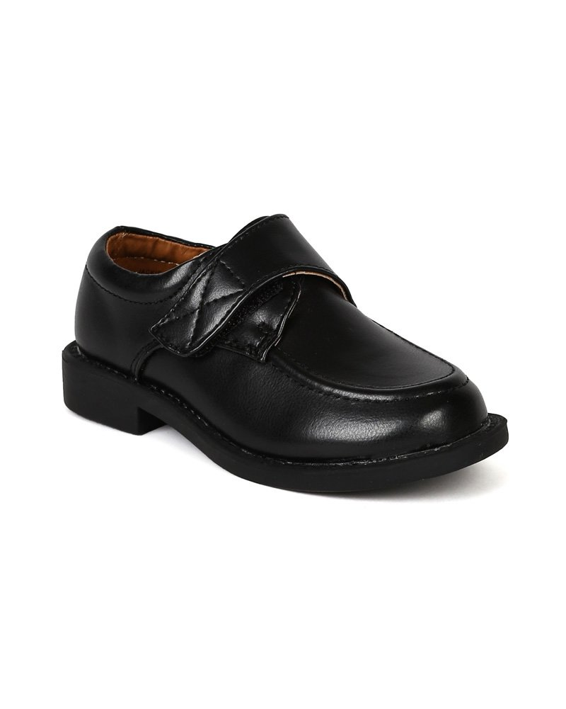 Leatherette Buckle Strap Dress School Shoe (Little Boys/Big Boys) BC68 - Black (Size: Little Kid 2)