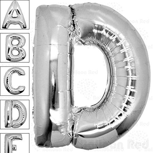 40 Inch Giant Jumbo Helium Foil Mylar Balloons (Premium Quality), Glossy Silver, Letter D
