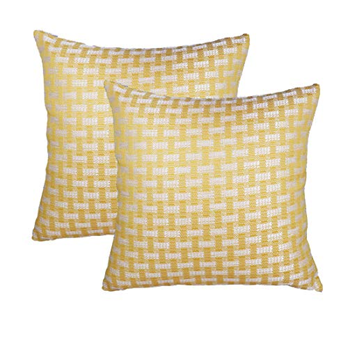 sykting Decorative Pillow Covers Cushion Cases 18x18 Retro Checkers Plaids Cotton Linen Pillowcase Pack of 2 Yellow and ()