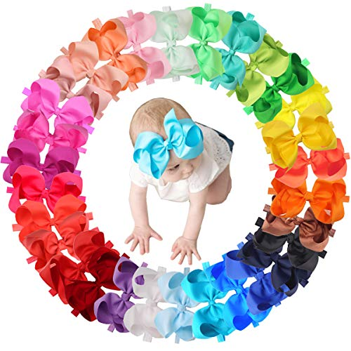 30 Colors Baby Girls Headbands 6Inch Big Hair Bows Elastic Hair Bands Headbands Hair Accessories for Newborns Infants Toddlers Kids ()
