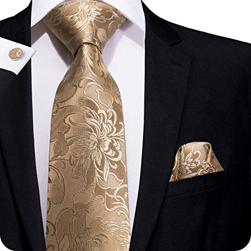 Hi-Tie Men Brown Gold Paisley Floral Tie Necktie with Cufflinks and Pocket Square Tie Set (Cufflinks Gold Square)