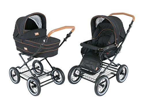 Luxury Roan Kortina 2-in-1 Pram Stroller Pushchair with Big Baby Bassinet and Toddler Reclining Seat with Five Point Safety System UV Proof Canopy and Storage Basket for child up to 3 year (graphite) by Roan