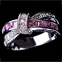 Pink Sapphire CZ Cross Wedding Ring MenWomens 10KT White Gold Filled Size 6-10(ุุ6)