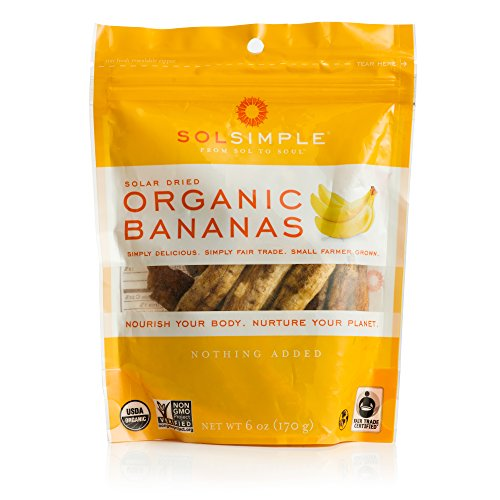 Sol Simple Organic Dried Bananas 6oz, Pack of 1