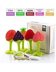Leedemore - Juguetes de dentición para bebés, conjunto de mordedores de silicona natural de silicona suave (5 piezas)