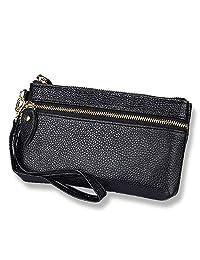 Women's Genuine Leather Coin Purse Pouch Change Long Wallet (Color : Black)