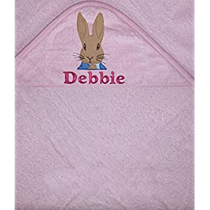 Peter Rabbit Personalised 100% Cotton Baby Hooded Bath Towel (Pink)
