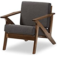 Baxton Studio Genie Mid-Century Modern Wood Grey Fabric Living Room 1-Seater Lounge Chair, Walnut