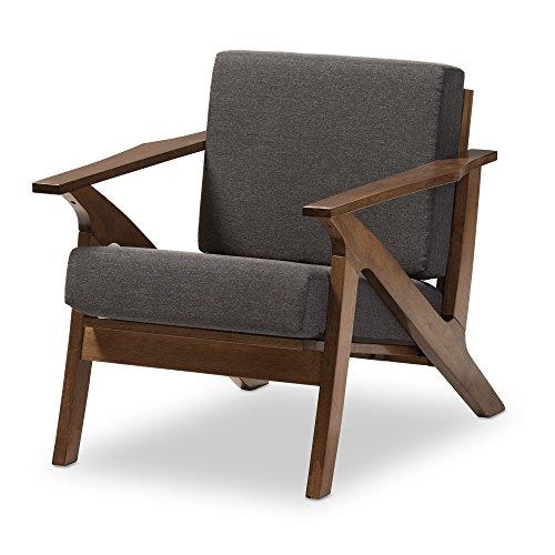 Baxton Studio Genie Mid-Century Modern Wood Grey Fabric Living Room 1-Seater Lounge Chair, Walnut (Chair Lounge Danish Cushions)