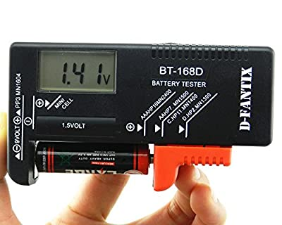 D-FantiX Digital Battery Tester Battery Checker for AA AAA C D 9V 1.5V Button Cell Batteries (Model: BT-168D)