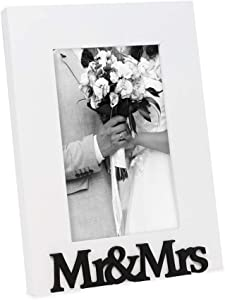 """Isaac Jacobs White Wood Sentiments """"Mr & Mrs"""" Picture Frame, 4x6 inch, Newlywed Photo Gift for Wedding, Display on Tabletop, Desk (White, 4x6)"""