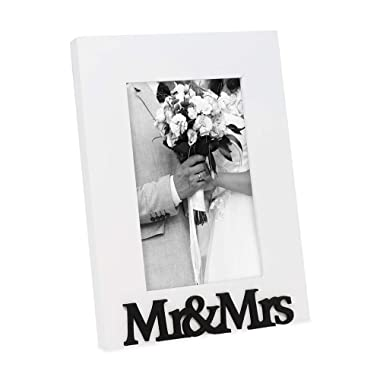"""Isaac Jacobs White Wood Sentiments """"Mr & Mrs"""" Picture Frame, 4x6 inch, Newlywed Photo Gift for Wedding, Display on Tabletop, Desk (White)"""