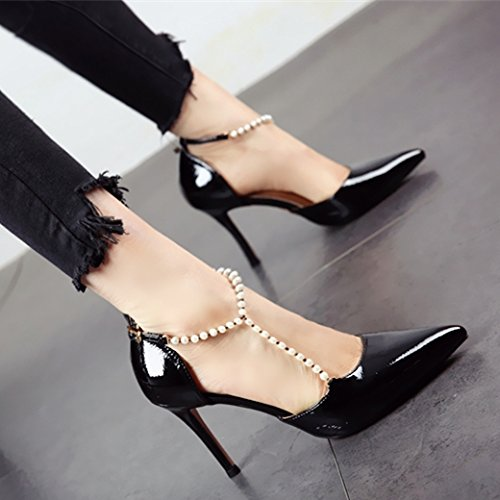 Schuhe Im High Sexy Spitzen Sandalen Stil Lack europäischen Heels Dünn Perlen Schwarzen YMFIE und Damen gOwqvxdv