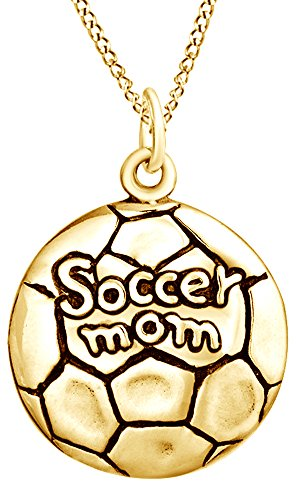 AFFY Soccer Mom Medallion Pendant Necklace In 14K Yellow Gold Over Sterling Silver For Mother's Day Special - Medallion Football Football