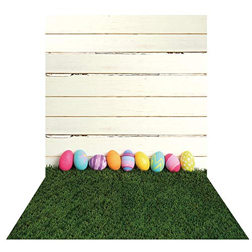 Allenjoy 5X7ft Happy Easter Theme Backdrops for Photography Green Grass Lawn Backdrop Colorful Eggs Background for Newborn Baby Shower Boys Girls Kids Adult Photo Portrait for Studio Props (Egg Green Festival)