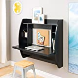 Cheap Prepac Wall Mounted Floating Desk with Storage in Black
