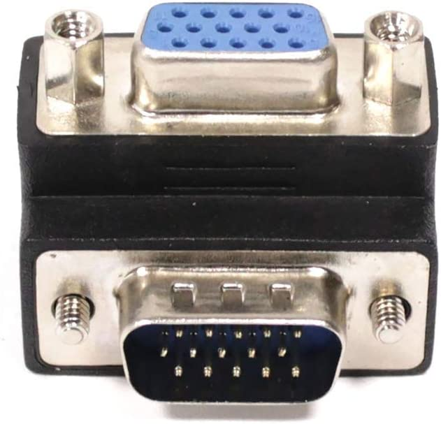 Adaptador VGA acodado izquierda HD15 macho hembra BeMatik