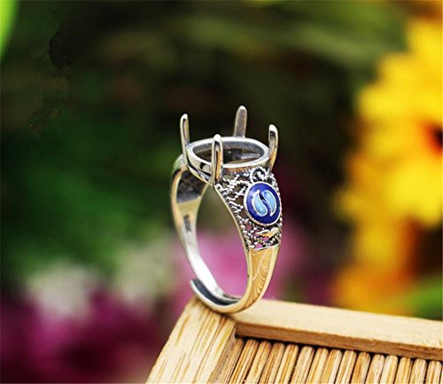 MFMei 1pc Cloisonne Oval Cabochon Ring Blank, Sterling Silver Adjustable Filigree Ring Base (JT022L)