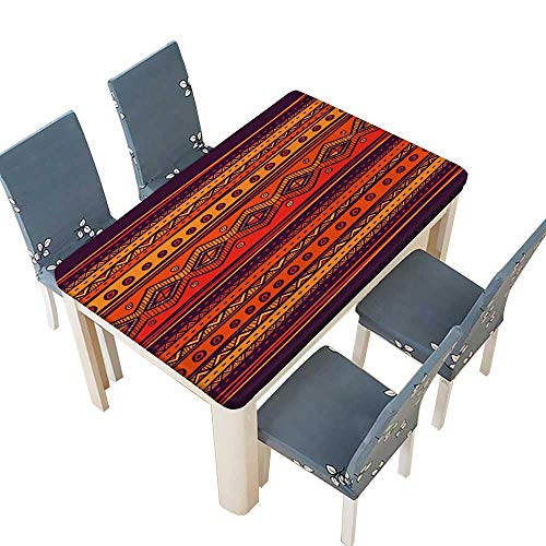 (PINAFORE Tablecloth Abstract Hand Drawn Ethno Pattern,Tribal Background Pattern can be Used for Wallpaper Liquid Spills Bead up W45 x L84.5 INCH (Elastic Edge))