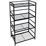 Flipshelf-Folding Metal Bookcase-Small Space Solution-No Assembly-Home, Kitchen, Bathroom and Office Shelving-Black, 4 Shelves, Wide