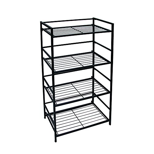 3 Tier Bookcase Folding (Flipshelf-Folding Metal Bookcase-Small Space Solution-No Assembly-Home, Kitchen, Bathroom and Office Shelving-Black, 4 Shelves, Wide)
