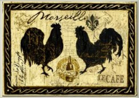 Stupell Home Décor Tan Marseille Le Cafe Roosters Wall Plaque, 10 x 0.5 x 15, Proudly Made in USA