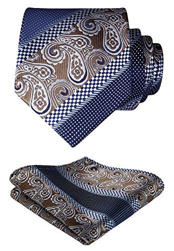 HISDERN Floral Paisley Wedding Tie Handkerchief Woven Classic Men's Necktie & Pocket Square Set Brown & Navy Blue ()