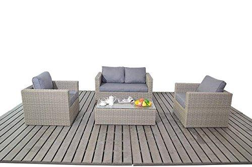 Moderne kleine Rattan Garten Sofa-Set, 2-Sitzer-Sofa mit 2Sesseln und Glas Couchtisch, Dicke Sitz-Kissen, Wintergarten/Garten Möbel Sets