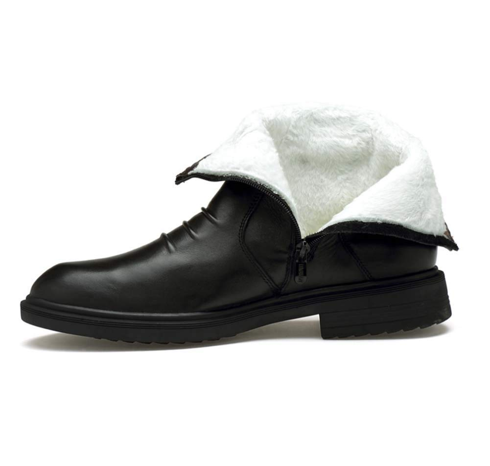 HYLFF Männer Leder Stiefel Winter Warme Wanderschuhe Gummisohle Business Büroarbeit Büroarbeit Büroarbeit Outdoor Stiefel Executive Zip Stiefel High Top Ankle Schuhe d2aa60