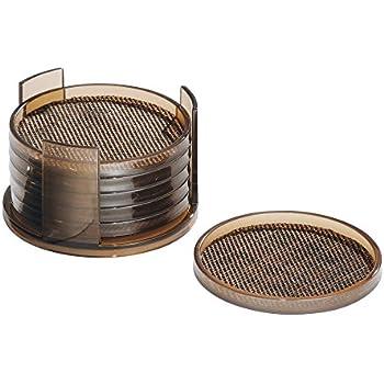 Amazon.com | InterDesign Twillo Round Drink Coasters for Home ...