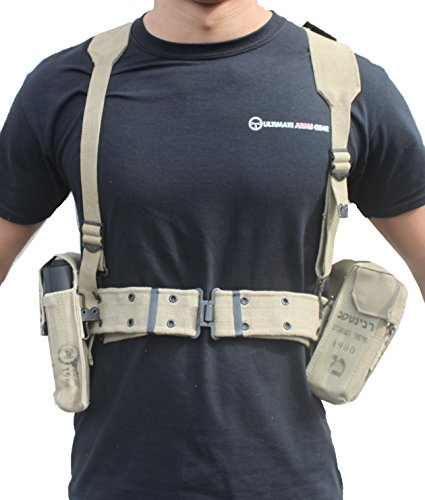 Ultimate Arms Gear Surplus Tzahal Zahal IDF Military Khaki Tan Canvas Vest Harness Personal Load Carrying System PLCS with Shoulder Suspension, Cushioned Waist Belt & Ammunition Pouches (Plc System)