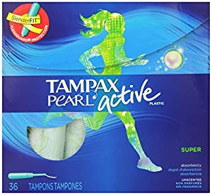 Tampax Super Absorbency, Unscented Plastic Applicator Tampons, 36 Count