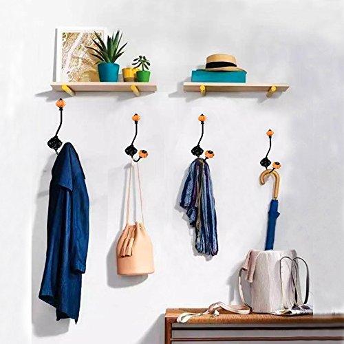 Coat Hooks-Vintage Ceramic Iron Pumpkin Hooks Wall hooks for Coat Jewelry Hat Scarf Home Decoration-2 Pack (Orange) by ElecNova (Image #6)