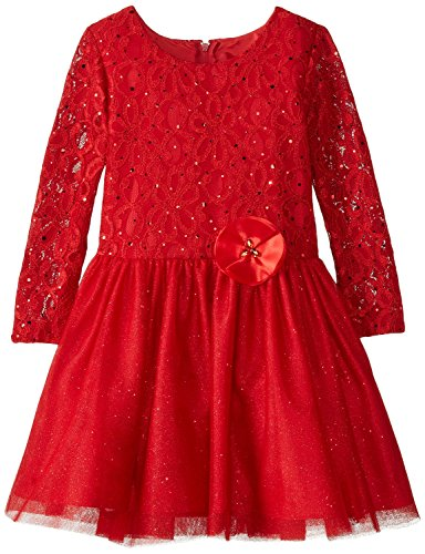 Rare Editions Holiday Dress - Rare Editions Little Girls' Lace To Glitter Tulle with Satin Flower Dress, Red, 5