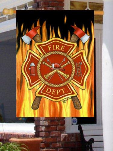 Fire Department - Fire Dept Emblem with Axe & Flame - Standard Size 28 Inch X 40 Inch Decorative (Emblem Standard)