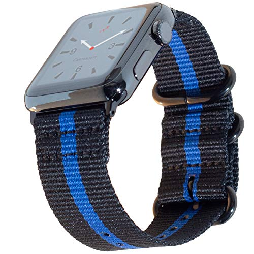 Carterjett Thin Blue Line Nylon NATO Compatible Apple Watch Band 44mm 42mm Series 4, 3, 2, 1 Outdoors Woven Canvas iWatch Band Replacement Sport Wrist Strap (42 44 S/M/L Thin Blue Line) ()