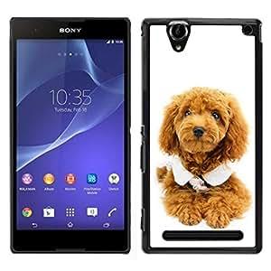 Caucho caso de Shell duro de la cubierta de accesorios de protección BY RAYDREAMMM - Sony Xperia T2 Ultra - Perrito lindo del perro de caniche
