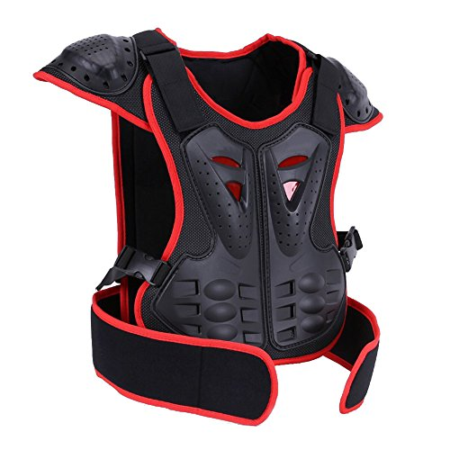 BARHAR Kids Dirt Bike Body Chest Spine Protector Armor Vest Protective Gear for Dirtbike Bike Motocross Skiing Snowboarding (Red+Black, M)
