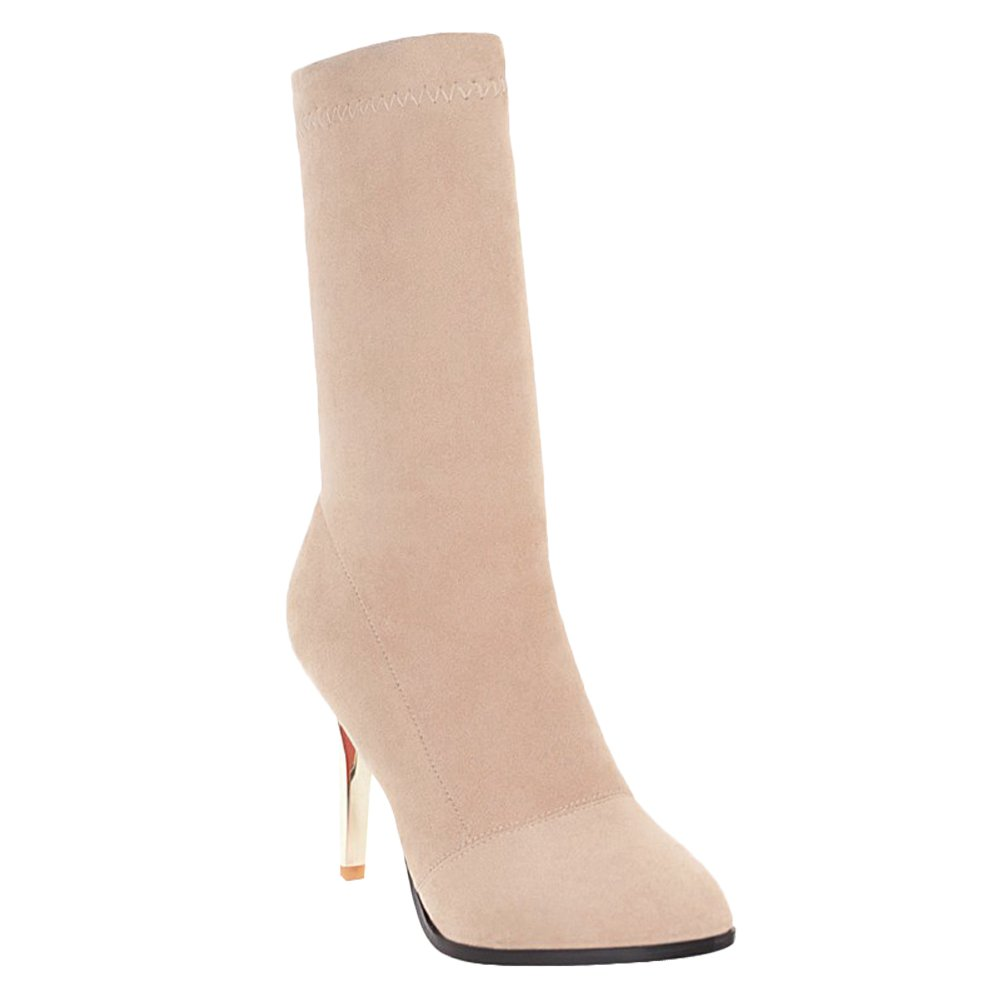 MissSaSa Talons Femmes Hauts Bottes Hiver Bout Pointu Talons Hauts Bottines Cuissarde Cuissarde Beige 9843939 - conorscully.space