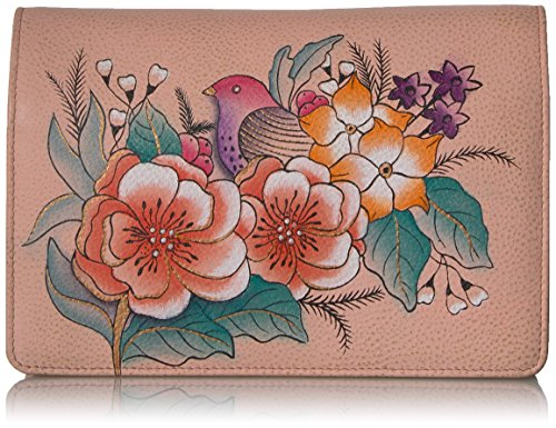 Vintage 1 Garden (Anna by Anuschka Handpainted Leather Women's Two Fold Wallet On A String, Vintage Garden, One Size)