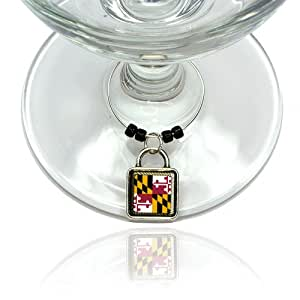 Maryland State Flag Wine Glass Drink Marker Charm Ring