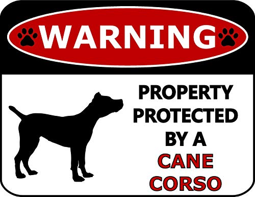(Top Shelf Novelties Warning Property Protected by A Cane Corso (Silhouette) Laminated Dog Sign SP271 (Includes Bonus I Love My Dog Decal))